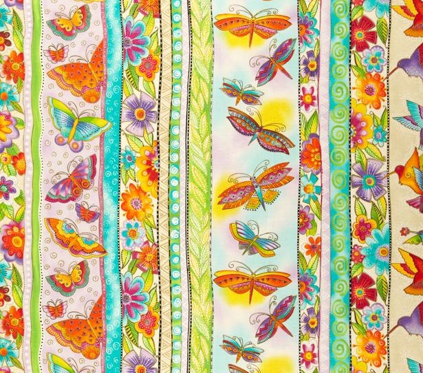 butterfly birds quilt fabric