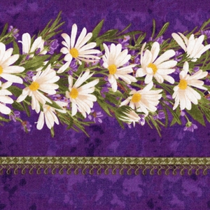 Simple Pleasures, purple, white flowers, daisies, green strip, vibrant