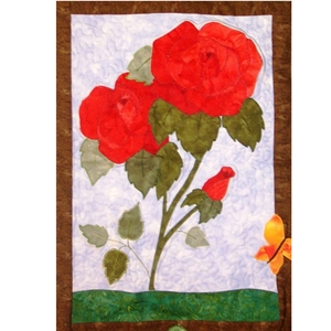 Applique Flower and Butterfly quilt block