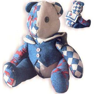 Scrappy red white and blue stuffed bear