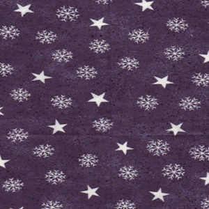 Dark Blue with white stars and snowflakes