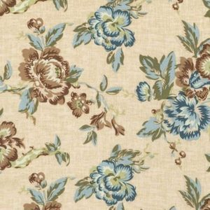 Blue and Brown floral on creme quilt fabric