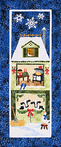 Christmas house with cows applique pattern