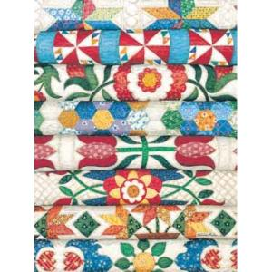 Colorful quilt pile jigsaw puzzle