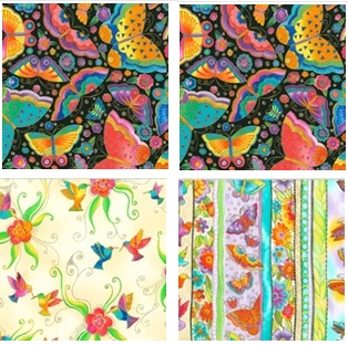 Boldly colored butterfly fabric