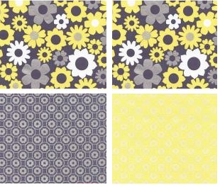 grey and yellow fabric