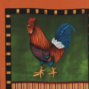 Colorful chicken fabric panel